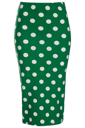 Green Spot Print Tube Skirt - length: below the knee; fit: tight; waist: high rise; pattern: polka dot; hip detail: draws attention to hips; predominant colour: emerald green; occasions: casual, evening, work, holiday; fibres: cotton - stretch; style: tube; texture group: jersey - clingy; pattern type: fabric; season: s/s 2013; pattern size: standard (bottom)