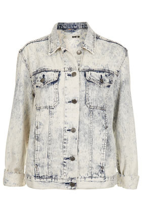 Moto Acid Wash Oversize Jacket - style: denim; predominant colour: pale blue; occasions: casual; length: standard; fit: straight cut (boxy); fibres: cotton - 100%; collar: shirt collar/peter pan/zip with opening; sleeve length: long sleeve; sleeve style: standard; texture group: denim; collar break: high/illusion of break when open; pattern type: fabric; pattern size: light/subtle; pattern: patterned/print; season: s/s 2013