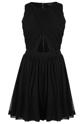 Wrap Mesh Ruche Skater Dress - length: mid thigh; neckline: round neck; pattern: plain; sleeve style: sleeveless; bust detail: subtle bust detail; predominant colour: black; occasions: evening, occasion; fit: fitted at waist & bust; style: fit & flare; fibres: nylon - 100%; hip detail: subtle/flattering hip detail; waist detail: cut out detail; sleeve length: sleeveless; texture group: sheer fabrics/chiffon/organza etc.; trends: volume; pattern type: fabric; pattern size: standard; season: s/s 2013