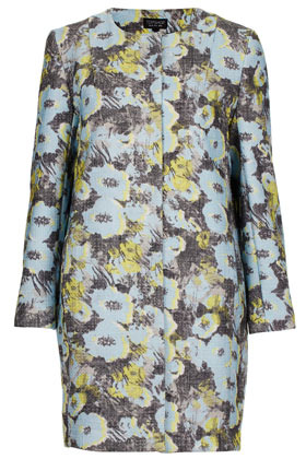 Bright Floral Boucle Coat - collar: round collar/collarless; style: single breasted; length: mid thigh; predominant colour: pale blue; occasions: casual, work, occasion; fit: straight cut (boxy); fibres: polyester/polyamide - mix; sleeve length: long sleeve; sleeve style: standard; trends: high impact florals; collar break: high; pattern type: fabric; pattern: florals; texture group: woven bulky/heavy; season: s/s 2013; pattern size: big & busy (top)
