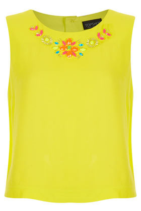 Embellished Detail Shell Top - neckline: round neck; sleeve style: sleeveless; bust detail: added detail/embellishment at bust; predominant colour: yellow; occasions: casual, evening, work, holiday; length: standard; style: top; fibres: polyester/polyamide - 100%; fit: straight cut; sleeve length: sleeveless; texture group: crepes; trends: fluorescent; pattern type: fabric; pattern size: light/subtle; embellishment: beading; season: s/s 2013