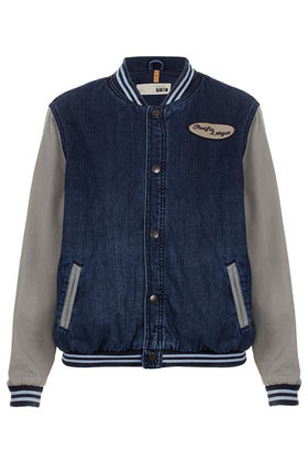 Petite Denim Varsity Bomber Jacket - pattern: plain; collar: high neck; style: bomber; predominant colour: denim; occasions: casual; length: standard; fit: straight cut (boxy); fibres: cotton - 100%; sleeve length: long sleeve; sleeve style: standard; texture group: denim; trends: sporty redux; collar break: high/illusion of break when open; pattern type: fabric; pattern size: standard; embellishment: embroidered; season: s/s 2013