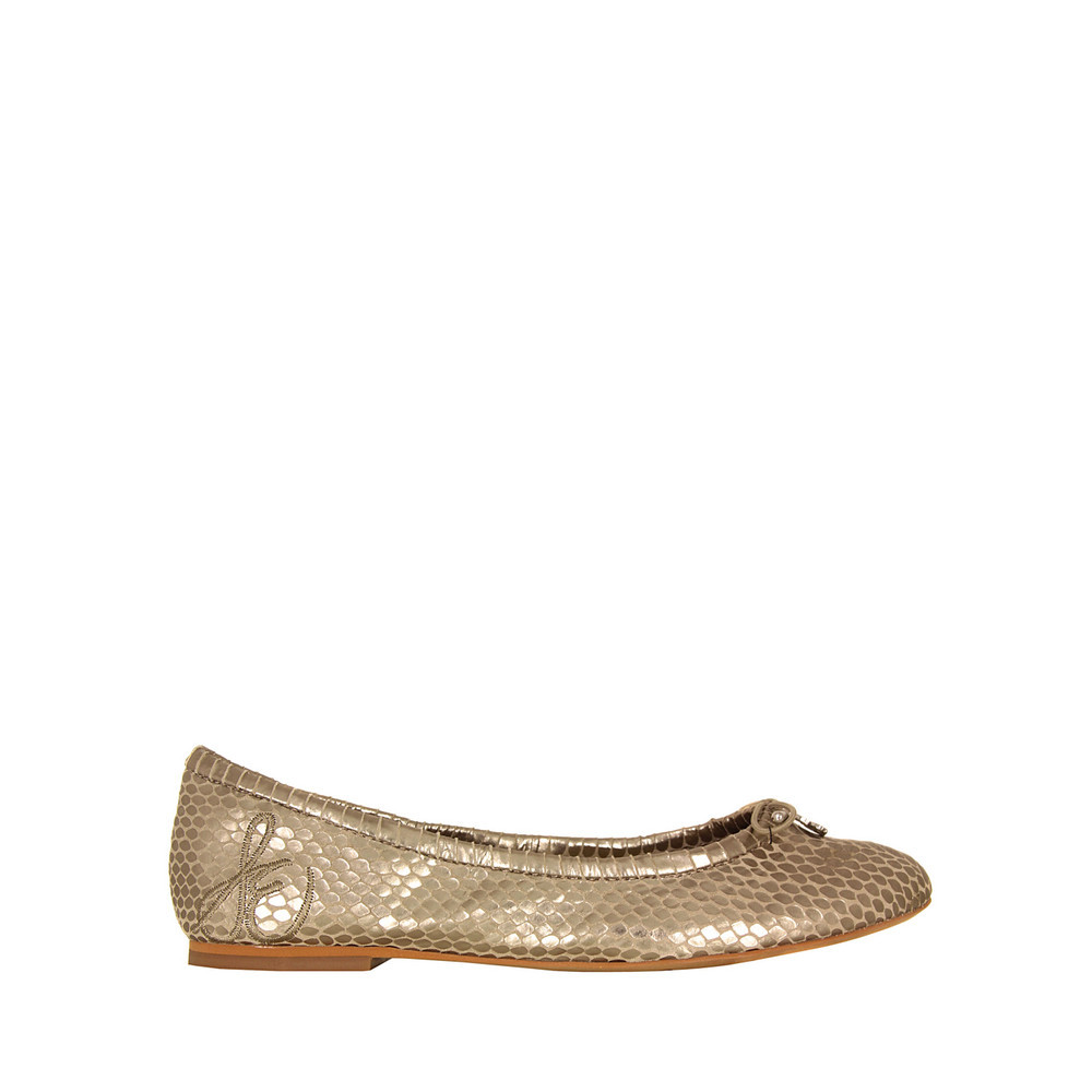 Felicia Light Gold Metal Shoes - predominant colour: gold; occasions: casual, evening, occasion; material: leather; heel height: flat; toe: round toe; style: ballerinas / pumps; trends: metallics; finish: metallic; pattern: animal print; season: s/s 2013