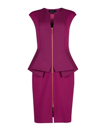 Ted Baker Jamthun Zip Detail Dress - style: shift; neckline: v-neck; sleeve style: capped; fit: tailored/fitted; pattern: plain; waist detail: peplum waist detail; bust detail: buttons at bust (in middle at breastbone)/zip detail at bust; predominant colour: magenta; occasions: evening, occasion; length: just above the knee; fibres: cotton - mix; sleeve length: short sleeve; texture group: structured shiny - satin/tafetta/silk etc.; pattern type: fabric; season: s/s 2013