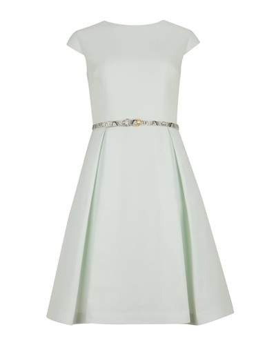 Ted Baker Ladi Full Skirt Belted Dress - neckline: round neck; sleeve style: capped; pattern: plain; style: full skirt; back detail: low cut/open back; waist detail: belted waist/tie at waist/drawstring; predominant colour: pistachio; occasions: evening, occasion; length: just above the knee; fit: fitted at waist & bust; fibres: polyester/polyamide - 100%; hip detail: structured pleats at hip; sleeve length: short sleeve; trends: volume; pattern type: fabric; texture group: woven light midweight; season: s/s 2013
