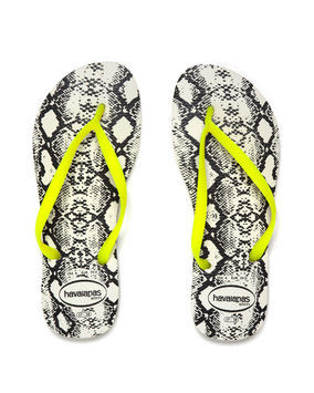 Slim Animals Fluo - predominant colour: yellow; occasions: casual, holiday; material: plastic/rubber; heel height: flat; heel: standard; toe: toe thongs; style: flip flops; trends: statement prints, fluorescent; finish: fluorescent; pattern: animal print; season: s/s 2013