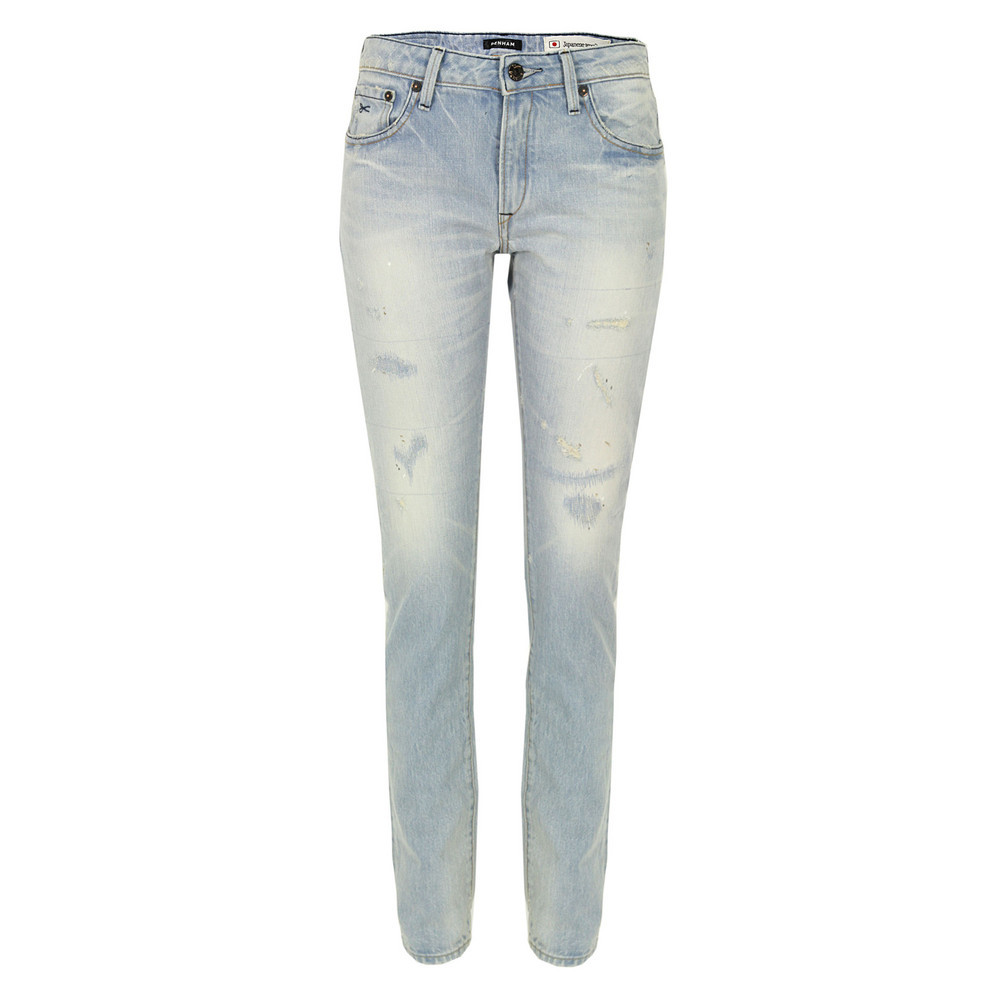 Elle Oss Light Wash Slim Boyfriend Jeans - length: standard; pattern: plain; pocket detail: traditional 5 pocket; style: slim leg; waist: mid/regular rise; predominant colour: denim; occasions: casual; fibres: cotton - 100%; jeans detail: washed/faded; texture group: denim; pattern type: fabric; season: s/s 2013; pattern size: standard (bottom)