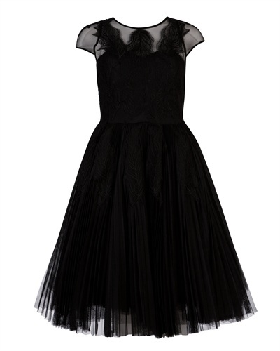 Ted Baker Miyaa Feather Applique Motif Dress - neckline: round neck; sleeve style: capped; pattern: plain; style: full skirt; predominant colour: black; occasions: evening, occasion; length: on the knee; fit: fitted at waist & bust; fibres: polyester/polyamide - 100%; sleeve length: short sleeve; texture group: structured shiny - satin/tafetta/silk etc.; pattern type: fabric; embellishment: applique; season: s/s 2013; wardrobe: event; embellishment location: bust