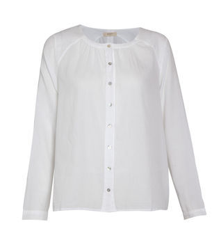 Axelle Smock Shirt - pattern: plain; style: smock; bust detail: buttons at bust (in middle at breastbone)/zip detail at bust; predominant colour: white; occasions: casual, work; length: standard; fibres: cotton - 100%; fit: straight cut; neckline: crew; sleeve length: long sleeve; sleeve style: standard; texture group: cotton feel fabrics; pattern type: fabric; pattern size: standard; season: s/s 2013