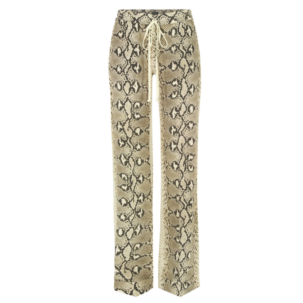4010 Stone Snake Print Silk Pyjama Trousers - length: standard; waist detail: elasticated waist; waist: mid/regular rise; predominant colour: stone; occasions: casual, evening; fibres: silk - 100%; texture group: silky - light; fit: straight leg; pattern type: fabric; pattern: animal print; style: standard; season: s/s 2013; pattern size: big & busy (bottom)