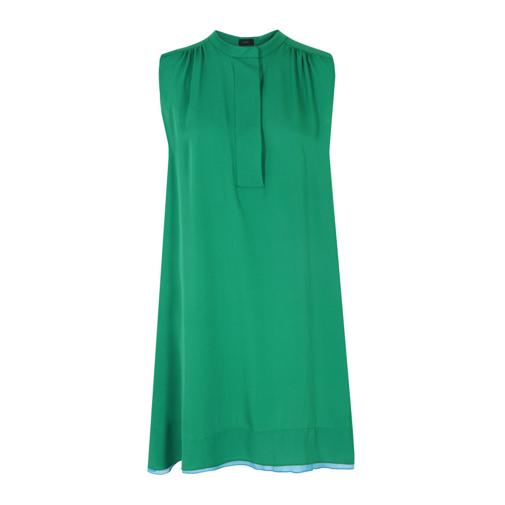 6246 Liv Emerald Dress - style: trapeze; fit: loose; pattern: plain; sleeve style: sleeveless; predominant colour: emerald green; occasions: casual, evening; length: just above the knee; fibres: silk - 100%; neckline: crew; sleeve length: sleeveless; texture group: silky - light; pattern type: fabric; pattern size: standard; season: s/s 2013