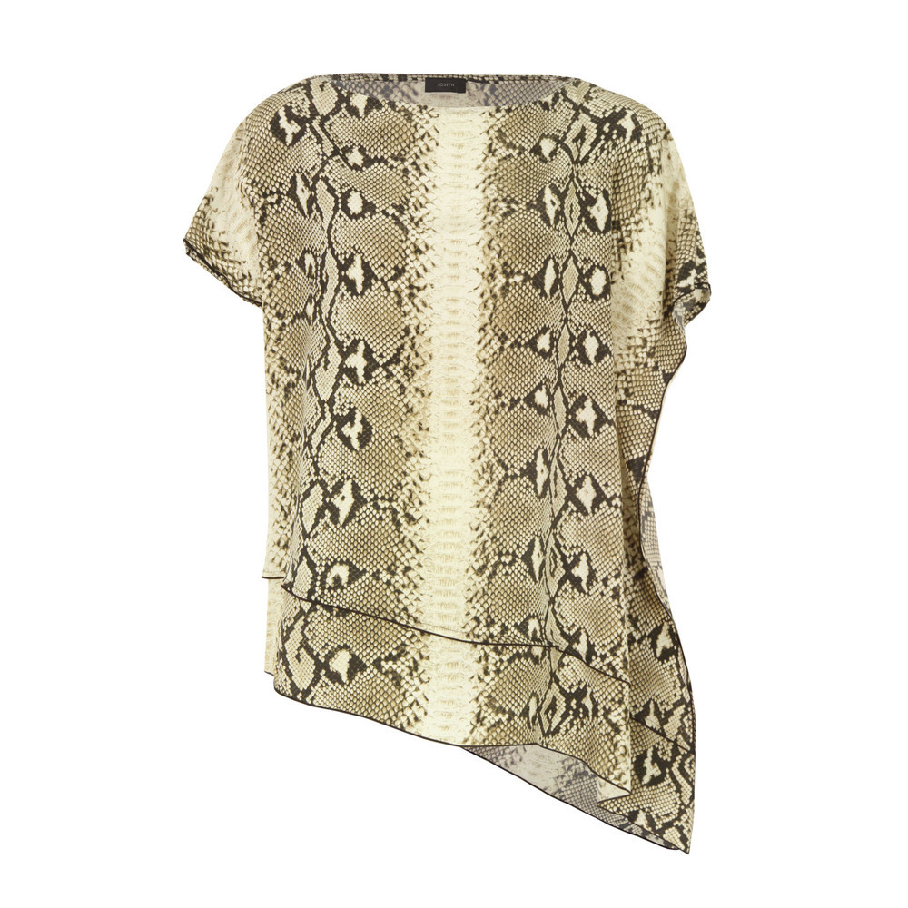 3583 Ines Stone Snake Print Silk Top - neckline: slash/boat neckline; length: below the bottom; predominant colour: taupe; occasions: evening; style: top; fibres: silk - 100%; fit: straight cut; sleeve length: short sleeve; sleeve style: standard; texture group: silky - light; pattern type: fabric; pattern size: standard; pattern: animal print; season: s/s 2013
