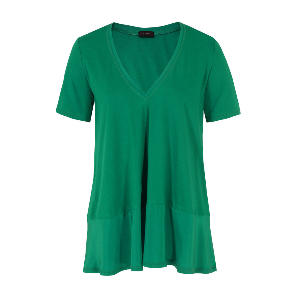 0703 Ada Emerald Top - neckline: low v-neck; pattern: plain; length: below the bottom; predominant colour: emerald green; occasions: casual, evening; style: top; fibres: cotton - 100%; fit: loose; sleeve length: short sleeve; sleeve style: standard; pattern type: fabric; pattern size: standard; texture group: jersey - stretchy/drapey; season: s/s 2013