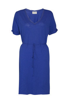 Jacksonville Short Sleeve Dress - style: shift; neckline: v-neck; pattern: plain; waist detail: belted waist/tie at waist/drawstring; predominant colour: royal blue; occasions: casual; length: on the knee; fit: body skimming; fibres: cotton - mix; sleeve length: short sleeve; sleeve style: standard; texture group: cotton feel fabrics; pattern type: fabric; season: s/s 2013