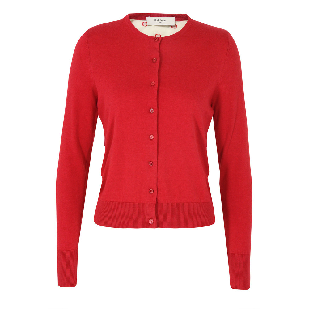 G554 Polka Dot Red Cardigan - neckline: round neck; pattern: plain; back detail: contrast pattern/fabric at back; predominant colour: true red; occasions: casual; length: standard; style: standard; fibres: cotton - 100%; fit: slim fit; sleeve length: long sleeve; sleeve style: standard; texture group: knits/crochet; pattern type: knitted - fine stitch; pattern size: standard; season: s/s 2013