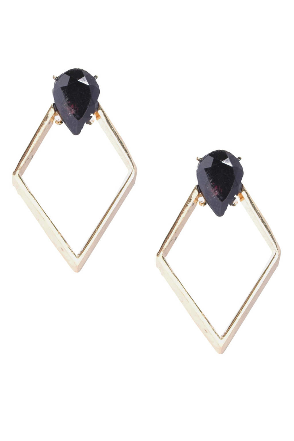 Black & Geometric Drop Earrings - predominant colour: gold; occasions: evening, work, occasion; style: drop; length: long; size: standard; material: chain/metal; fastening: pierced; finish: plain; embellishment: crystals/glass; season: s/s 2013