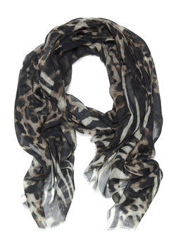 Madison Leopard Mirage Scarf - predominant colour: black; occasions: casual, evening, work, holiday; type of pattern: heavy; style: regular; size: standard; material: fabric; pattern: animal print; trends: statement prints; season: s/s 2013