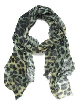 Angelina Leopard Print Citrus Scarf - predominant colour: primrose yellow; occasions: casual, evening, work, occasion, holiday; type of pattern: heavy; style: regular; size: standard; material: fabric; pattern: animal print; trends: statement prints; season: s/s 2013