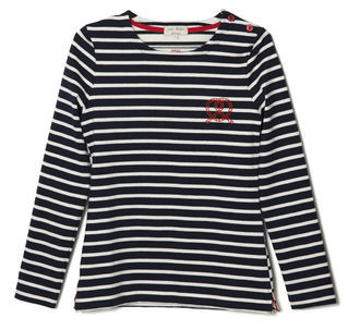 Kitsune Breton - pattern: plain; style: t-shirt; predominant colour: navy; occasions: casual; length: standard; fibres: cotton - 100%; fit: straight cut; neckline: crew; sleeve length: long sleeve; sleeve style: standard; pattern type: fabric; pattern size: standard; texture group: jersey - stretchy/drapey; embellishment: embroidered; season: s/s 2013