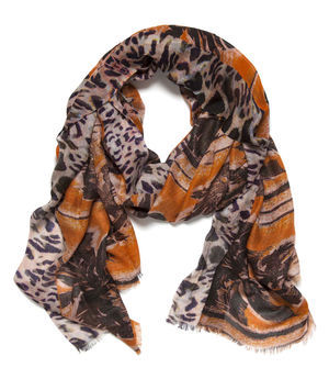 Roxie Palm Tree Scarf - occasions: casual, evening, work, holiday; predominant colour: multicoloured; type of pattern: heavy; style: regular; size: standard; material: silk; trends: statement prints; pattern: patterned/print; season: s/s 2013; multicoloured: multicoloured