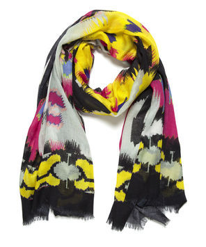 Lana Aztec Scarf - occasions: casual, evening, work, occasion, holiday; predominant colour: multicoloured; type of pattern: heavy; style: regular; size: standard; material: silk; embellishment: fringing; trends: statement prints, fluorescent; pattern: patterned/print; season: s/s 2013; multicoloured: multicoloured
