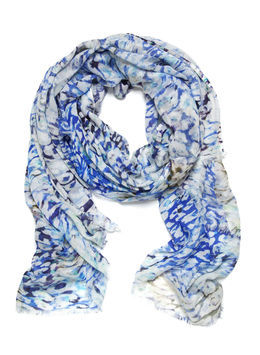 Felicity Animal Smudge Scarf - predominant colour: royal blue; occasions: casual, evening, work, occasion, holiday; type of pattern: standard; style: regular; size: standard; material: fabric; pattern: animal print; trends: statement prints; season: s/s 2013