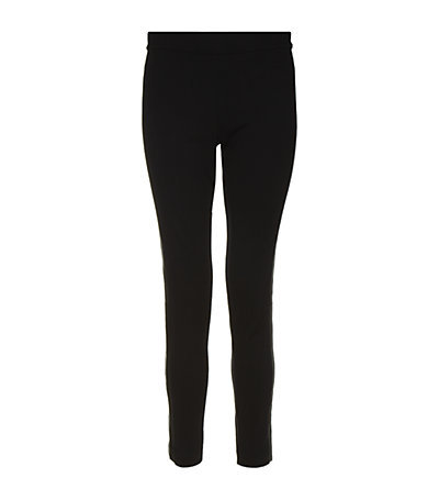 Leather Side Seam Legging - pattern: plain; style: leggings; waist detail: elasticated waist; waist: mid/regular rise; predominant colour: black; occasions: casual, evening, work; length: ankle length; fibres: viscose/rayon - stretch; fit: skinny/tight leg; pattern type: fabric; texture group: jersey - stretchy/drapey; season: s/s 2013