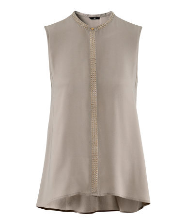 Blouse - sleeve style: sleeveless; neckline: high neck; style: blouse; predominant colour: taupe; occasions: casual, evening, work; length: standard; fibres: polyester/polyamide - 100%; fit: straight cut; sleeve length: sleeveless; texture group: sheer fabrics/chiffon/organza etc.; pattern type: fabric; pattern size: light/subtle; embellishment: beading; season: s/s 2013