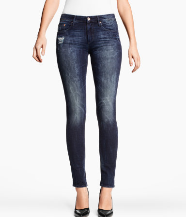 Slim Regular Jeans - style: skinny leg; length: standard; pattern: plain; pocket detail: traditional 5 pocket; waist: mid/regular rise; predominant colour: navy; occasions: casual; fibres: cotton - stretch; jeans detail: whiskering, shading down centre of thigh; texture group: denim; pattern type: fabric; season: s/s 2013
