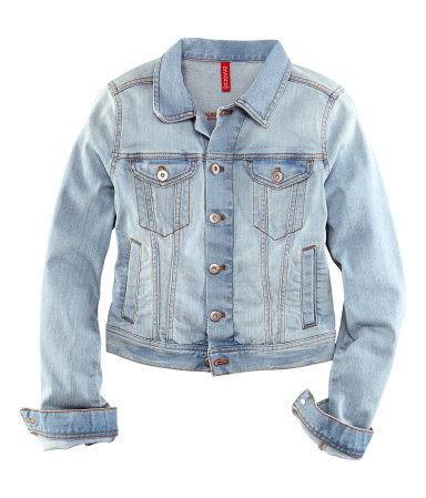 Denim Jacket - pattern: plain; style: denim; fit: slim fit; predominant colour: denim; occasions: casual, holiday; length: standard; fibres: cotton - stretch; collar: shirt collar/peter pan/zip with opening; sleeve length: long sleeve; sleeve style: standard; texture group: denim; collar break: high/illusion of break when open; pattern type: fabric; season: s/s 2013