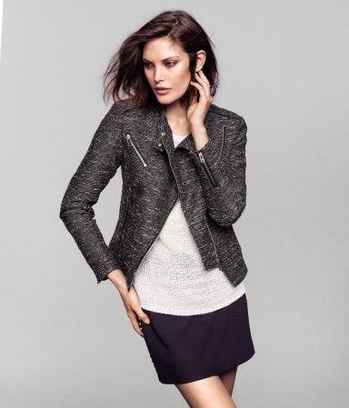 Jacket - style: biker; collar: asymmetric biker; fit: slim fit; pattern: herringbone/tweed; predominant colour: black; occasions: casual, evening, work; length: standard; fibres: polyester/polyamide - mix; waist detail: fitted waist; sleeve length: long sleeve; sleeve style: standard; texture group: ornate wovens; trends: metallics; collar break: medium; pattern type: fabric; pattern size: standard; season: s/s 2013