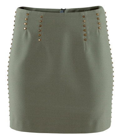 Skirt - length: mini; style: straight; fit: tailored/fitted; waist detail: embellishment at waist/feature waistband; waist: mid/regular rise; predominant colour: khaki; occasions: casual, evening, work; fibres: polyester/polyamide - 100%; hip detail: added detail/embellishment at hip; pattern type: fabric; texture group: other - light to midweight; embellishment: beading; season: s/s 2013; pattern size: light/subtle (bottom)