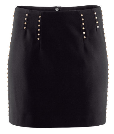 Skirt - length: mini; style: straight; fit: tailored/fitted; waist detail: embellishment at waist/feature waistband; waist: mid/regular rise; predominant colour: black; occasions: evening, work; fibres: polyester/polyamide - 100%; hip detail: added detail/embellishment at hip; pattern type: fabric; texture group: other - light to midweight; embellishment: beading; season: s/s 2013; pattern size: light/subtle (bottom)