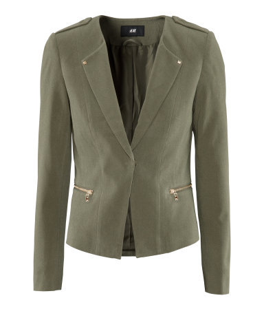 Jacket - pattern: plain; style: single breasted blazer; shoulder detail: obvious epaulette; fit: slim fit; collar: standard lapel/rever collar; predominant colour: khaki; occasions: casual, work; length: standard; fibres: cotton - stretch; waist detail: fitted waist; sleeve length: long sleeve; sleeve style: standard; texture group: crepes; collar break: low/open; pattern type: fabric; season: s/s 2013
