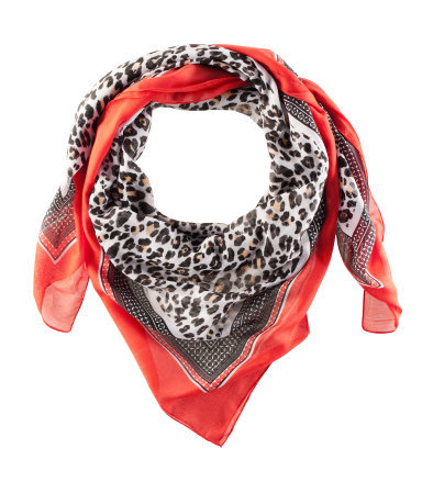 Scarf - predominant colour: true red; occasions: casual, work; type of pattern: standard; style: square; size: standard; material: fabric; pattern: animal print; season: s/s 2013