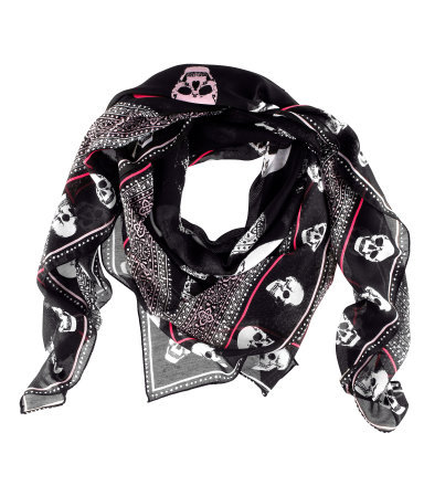 Scarf - predominant colour: black; occasions: casual, work; type of pattern: standard; style: square; size: standard; material: fabric; pattern: patterned/print; season: s/s 2013
