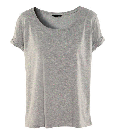 Top - neckline: round neck; pattern: plain; style: t-shirt; predominant colour: mid grey; occasions: casual; length: standard; fibres: cotton - 100%; fit: loose; sleeve length: short sleeve; sleeve style: standard; pattern type: fabric; texture group: jersey - stretchy/drapey; season: s/s 2013