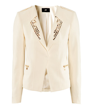 Jacket - pattern: plain; style: single breasted blazer; collar: standard lapel/rever collar; predominant colour: ivory/cream; occasions: casual, evening, work, occasion; length: standard; fit: tailored/fitted; fibres: cotton - stretch; sleeve length: long sleeve; sleeve style: standard; collar break: low/open; pattern type: fabric; texture group: woven light midweight; embellishment: beading; season: s/s 2013; wardrobe: highlight; embellishment location: bust