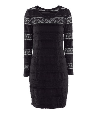 Dress - neckline: round neck; style: bodycon; predominant colour: black; occasions: casual, evening; length: just above the knee; fit: body skimming; fibres: cotton - mix; sleeve length: long sleeve; sleeve style: standard; texture group: lace; pattern type: fabric; pattern size: standard; pattern: patterned/print; season: s/s 2013