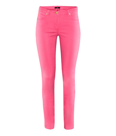 Trousers - length: standard; pattern: plain; pocket detail: traditional 5 pocket; waist: mid/regular rise; predominant colour: hot pink; occasions: casual; fibres: cotton - stretch; hip detail: fitted at hip (bottoms); texture group: denim; fit: skinny/tight leg; pattern type: fabric; style: standard; season: s/s 2013