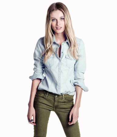 Denim Shirt - neckline: shirt collar/peter pan/zip with opening; pattern: plain; style: shirt; predominant colour: pale blue; occasions: casual; length: standard; fibres: cotton - mix; fit: straight cut; sleeve length: long sleeve; sleeve style: standard; texture group: denim; pattern type: fabric; pattern size: standard; season: s/s 2013