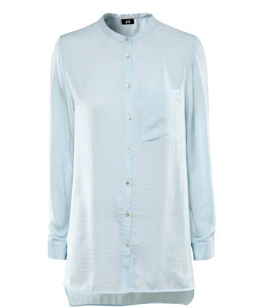 Blouse - pattern: plain; neckline: high neck; length: below the bottom; bust detail: pocket detail at bust; style: blouse; predominant colour: pale blue; occasions: casual, work; fibres: polyester/polyamide - 100%; fit: loose; back detail: longer hem at back than at front; sleeve length: long sleeve; sleeve style: standard; texture group: silky - light; pattern type: fabric; season: s/s 2013
