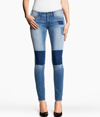 Skinny Low Jeans - style: skinny leg; length: standard; waist: low rise; pocket detail: traditional 5 pocket; predominant colour: denim; occasions: casual; fibres: cotton - mix; jeans detail: whiskering, shading down centre of thigh, washed/faded; texture group: denim; pattern type: fabric; pattern: patterned/print; season: s/s 2013; pattern size: standard (bottom)