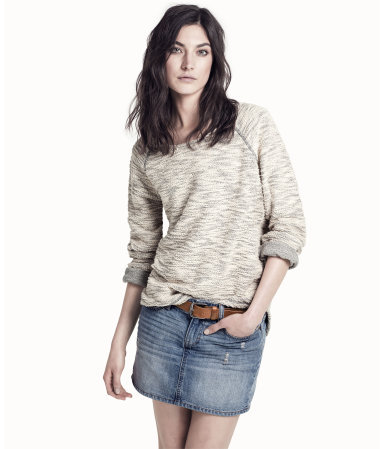 Sweatshirt - neckline: round neck; sleeve style: raglan; pattern: plain; style: sweat top; predominant colour: light grey; occasions: casual; length: standard; fibres: cotton - mix; fit: loose; back detail: longer hem at back than at front; sleeve length: long sleeve; pattern type: fabric; pattern size: standard; texture group: jersey - stretchy/drapey; season: s/s 2013