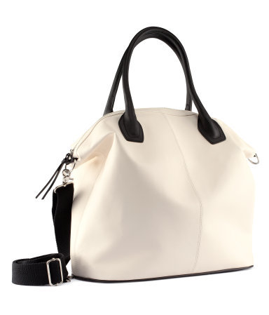 Bag - predominant colour: ivory/cream; occasions: casual, work; style: tote; length: handle; size: standard; material: faux leather; pattern: plain; finish: plain; season: s/s 2013