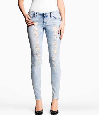 Skinny Low Jeans - style: skinny leg; length: standard; pattern: plain; waist: low rise; pocket detail: traditional 5 pocket; predominant colour: pale blue; occasions: casual; fibres: cotton - stretch; jeans detail: washed/faded; texture group: denim; pattern type: fabric; season: s/s 2013