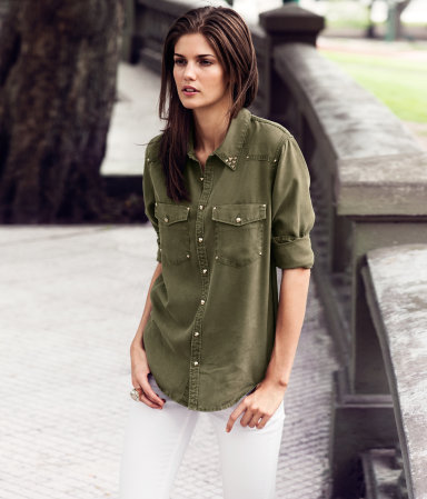Shirt - neckline: shirt collar/peter pan/zip with opening; pattern: plain; style: shirt; predominant colour: khaki; occasions: casual; length: standard; fibres: polyester/polyamide - 100%; fit: straight cut; sleeve length: long sleeve; sleeve style: standard; texture group: denim; pattern type: fabric; pattern size: standard; season: s/s 2013