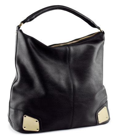 Bag - predominant colour: black; occasions: casual, work; type of pattern: standard; style: shoulder; length: shoulder (tucks under arm); size: standard; material: faux leather; pattern: plain; finish: plain; embellishment: chain/metal; season: s/s 2013