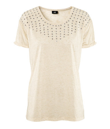 Top - neckline: round neck; bust detail: added detail/embellishment at bust; style: t-shirt; predominant colour: ivory/cream; occasions: casual, evening, work; length: standard; fibres: polyester/polyamide - mix; fit: body skimming; shoulder detail: added shoulder detail; sleeve length: short sleeve; sleeve style: standard; pattern type: fabric; pattern size: light/subtle; texture group: jersey - stretchy/drapey; embellishment: beading; season: s/s 2013