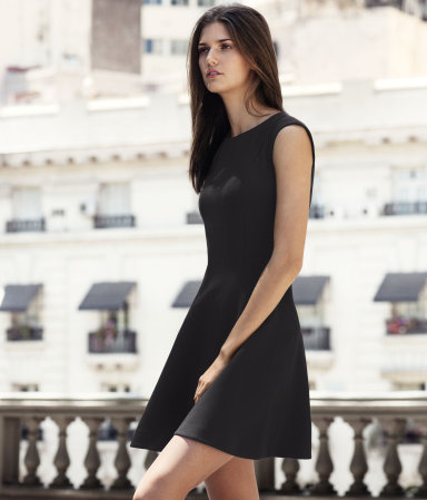 Dress - length: mid thigh; neckline: round neck; pattern: plain; sleeve style: sleeveless; waist detail: fitted waist; predominant colour: black; occasions: evening; fit: fitted at waist & bust; style: fit & flare; fibres: polyester/polyamide - stretch; sleeve length: sleeveless; pattern type: fabric; texture group: other - light to midweight; season: s/s 2013
